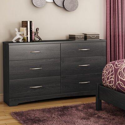 Step One 6 Drawer Double Dresser Color: Grey Oak