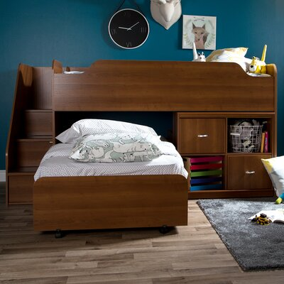 Mobby Twin Loft Bed with Trundle and Storage Finish: Brown