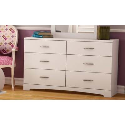 Step One 6 Drawer Double Dresser Color: Pure White