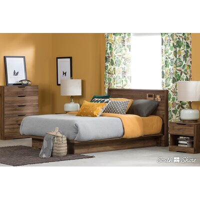 Holland Queen Storage Platform Bed Color: Natural Walnut