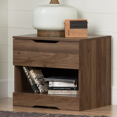Holland 1 Drawer Nightstand Color: Natural Walnut