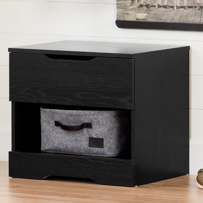 Holland 1 Drawer Nightstand Color: Black Oak