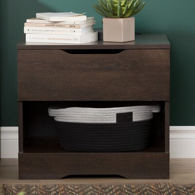 Holland 1 Drawer Nightstand Color: Brown Oak