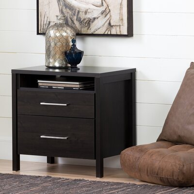 Gravity 2 Drawer Nightstand Color: Ebony