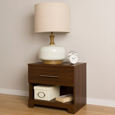 Primo 1 Drawer Nightstand Color: Brown Walnut