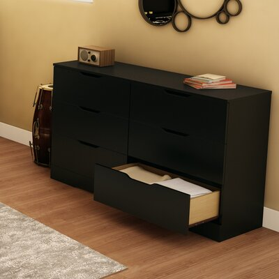 Holland 6 Drawer Double Dresser Color: Pure Black
