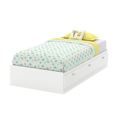 Karma Mates Bed with Storage Size: Twin, Finish: Pure White
