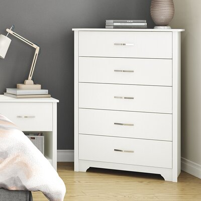 Fusion 5 Drawer Chest Finish: Pure White