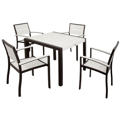 Trex Outdoor Surf City 5 Piece Dining Set Color: Textured Bronze / Classic White