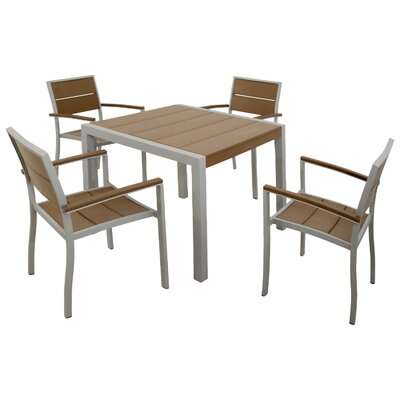Trex Outdoor Surf City 5 Piece Dining Set Color: Textured Metallic Silver / Tree House
