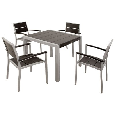 Trex Outdoor Surf City 5 Piece Dining Set Color: Textured Metallic Silver / Charcoal Black