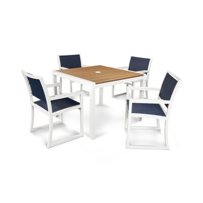 Parsons 5 Piece Dining Set Finish: Satin White / Tiki Torch / Sapphire