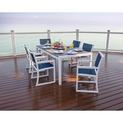 Parsons 7 Piece Dining Set Finish: Satin White / Island Mist / Sapphire