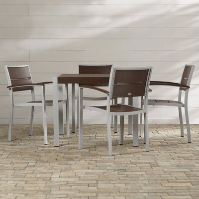 Trex Outdoor Surf City 5 Piece Dining Set Color: Textured Metallic Silver / Vintage Lantern