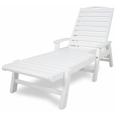 Yacht Club Chaise Lounge with Arms Color: Classic White