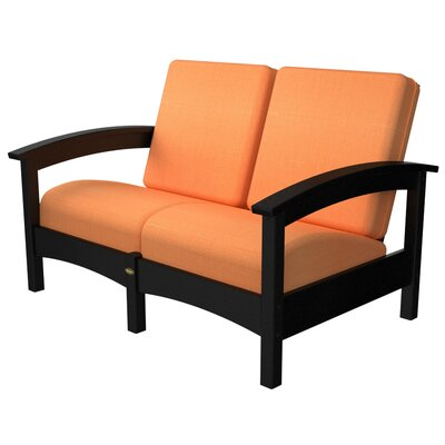 Rockport Club Deep Seating Sofa with Cushions Color: Charcoal Black / Tangerine