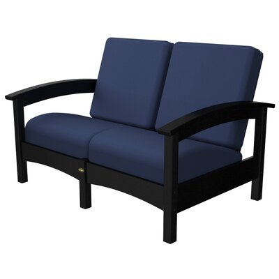 Rockport Club Deep Seating Sofa with Cushions Color: Charcoal Black / Navy