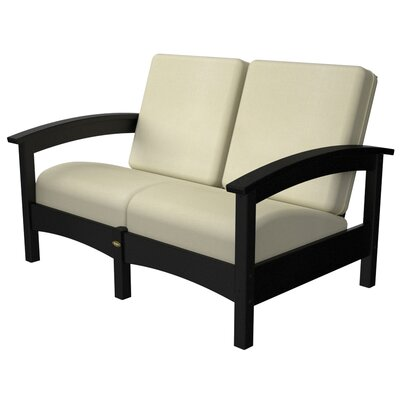 Rockport Club Deep Seating Sofa with Cushions Color: Charcoal Black / Birds Eye