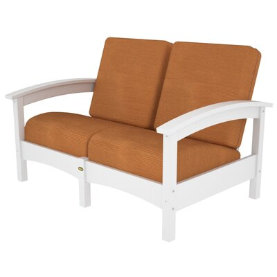 Rockport Club Deep Seating Sofa with Cushions Color: Classic White / Tangerine