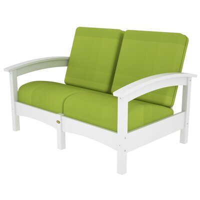 Rockport Club Deep Seating Sofa with Cushions Color: Classic White / Macaw