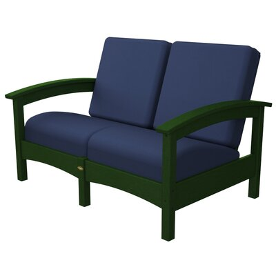 Rockport Club Deep Seating Sofa with Cushions Color: Rainforest Canopy / Navy