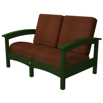 Rockport Club Deep Seating Sofa with Cushions Color: Rainforest Canopy / Chili