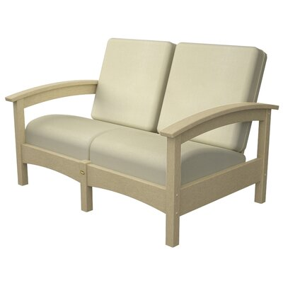 Rockport Club Deep Seating Sofa with Cushions Color: Sand Castle / Birds Eye