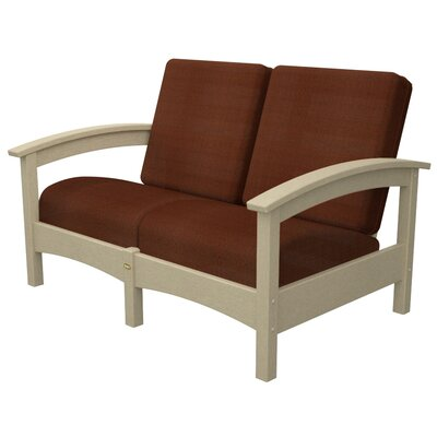 Rockport Club Deep Seating Sofa with Cushions Color: Sand Castle / Chili