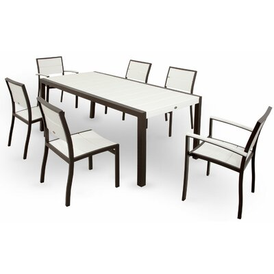 Surf City 7 Piece Dining Set Color: Textured Bronze / Classic White