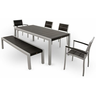 Surf City 6 Piece Dining Set Color: Textured Silver / Charcoal Black