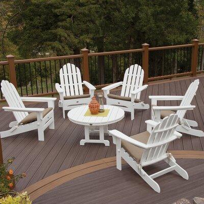 Cape Cod Folding 6 Piece Adirondack Seating Group Color: Classic White