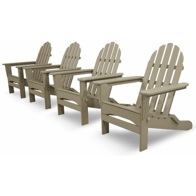 Ivy Terrace Classics 4 Piece Folding Adirondack Seating Group Color: Sand
