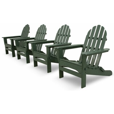 Ivy Terrace Classics 4 Piece Folding Adirondack Seating Group Color: Green