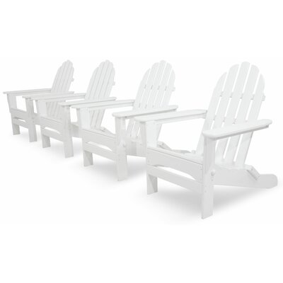 Ivy Terrace Classics 4 Piece Folding Adirondack Seating Group Color: White