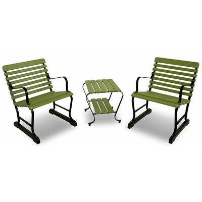Vintage 3 Piece Seating Group Color: Black/Lime