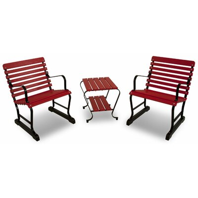 Vintage 3 Piece Seating Group Color: Black/Sunset Red