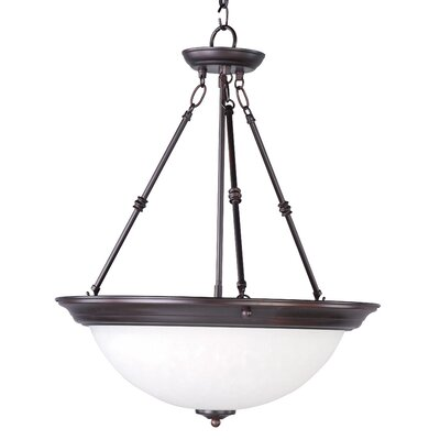 Essentials 3-Light Invert Bowl Pendant Shade/Finish: Ice/Oil Rubbed Bronze
