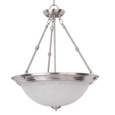 Essentials 3-Light Invert Bowl Pendant Shade/Finish: Ice/Satin Nickel
