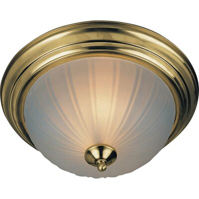 1-Light Flush Mount Finish: Polished Brass, Size: 6 H x 14 W