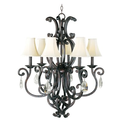 Wiltse Traditional 6-Light Shaded Chandelier Shade: No