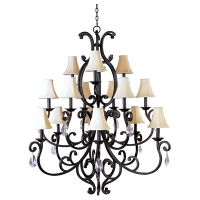 Wiltse 15-Light Shaded Chandelier Shade: Yes, Crystal Type: Large