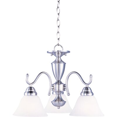 Newport 3-Light Shaded Chandelier Finish: Satin Nickel / Marble