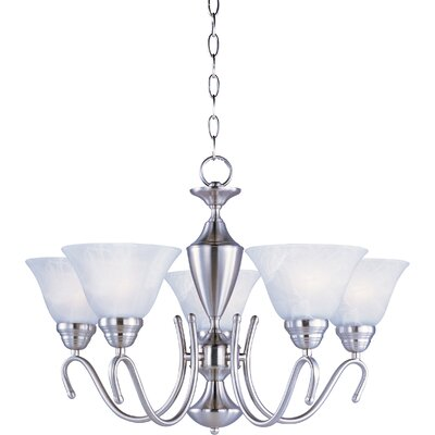 Carlyle 5-Light Shaded Chandelier Finish: Satin Nickel / Marble
