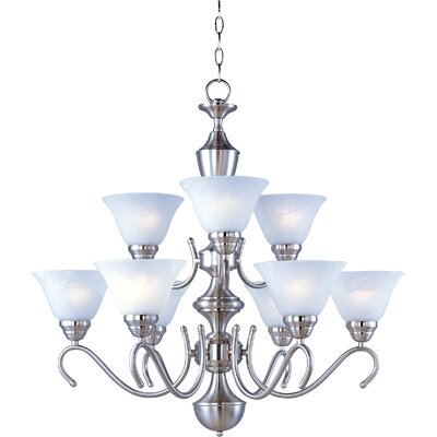 Carlyle 9-Light Shaded Chandelier Finish: Satin Nickel / Marble