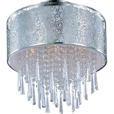 Tayla 5-Light Flush Mount Shade Color: White Inner Fabric