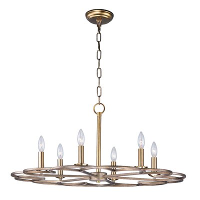 Delana 6-Light Candle-Style Chandelier Size: 14 H x 31.5 W x 31.5 D