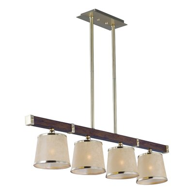 Cayton Linear 4-Light Kitchen Island Pendant Finish: Antique Pecan and Satin Brass