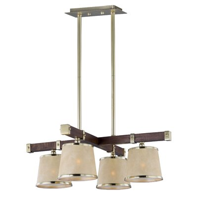 Cayton 4-Light Kitchen Island Pendant Finish: Antique Pecan and Satin Brass
