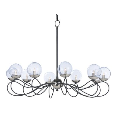 Causeway 10-Light Candle-Style Chandelier Bulb Type: G9 Xenon, Finish: Textured Black/PolishedNickel