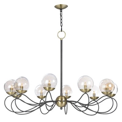 Causeway 10-Light Candle-Style Chandelier Bulb Type: G9 Xenon, Finish: Textured Bronze/Satin Brass